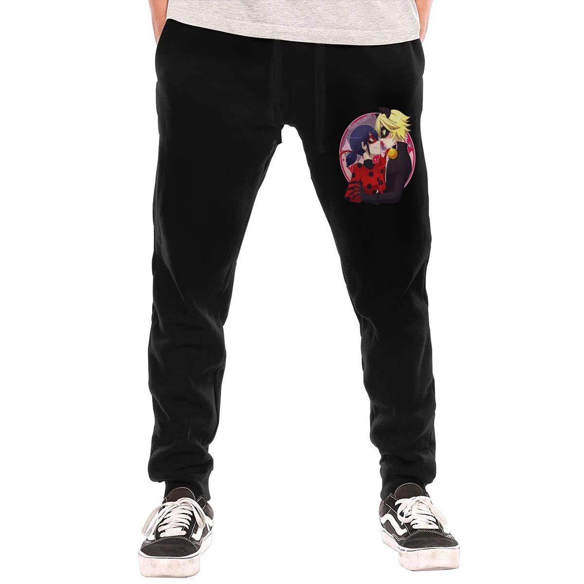 Kinggo Mens Design Miraculous.Ladybug New with Pockets Gym Pants Black