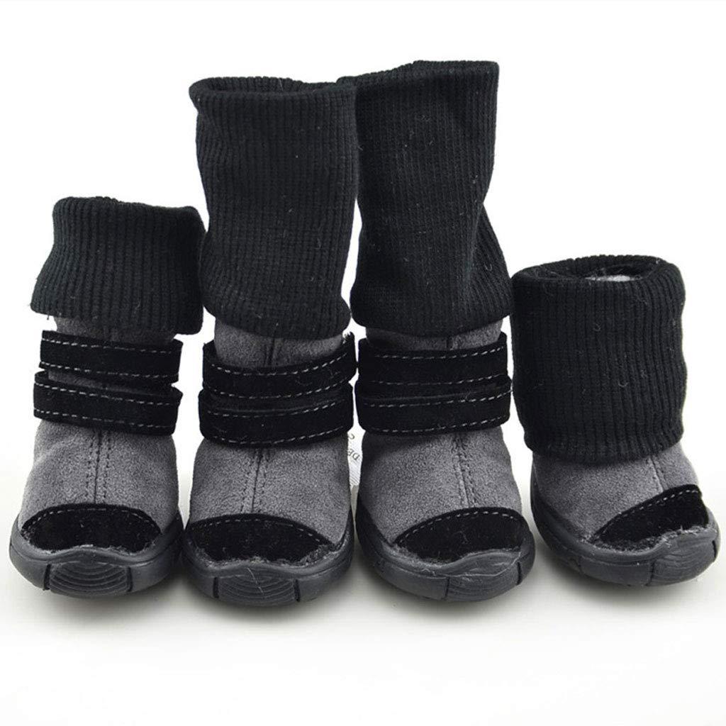 Black Dog shoes Snow Boots Slip Wear Dog shoes Autumn and Winter Cotton shoes Teddy shoes Set of 4 Pet shoes (color   Black)