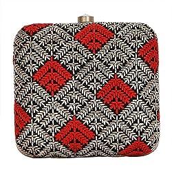 Royal Pitarah Women's Embroidery Square Box Clutch Silver, Red, Black 6