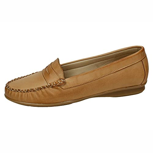 MADE IN SPAIN 1705 Mocasines DE Piel SEÑORA Zapatos MOCASÍN Camel 37: Amazon.es: Zapatos y complementos