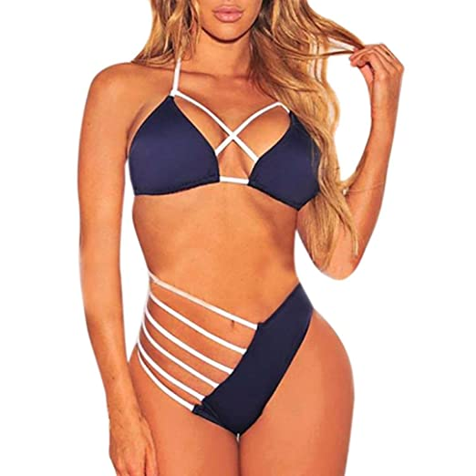 96e318533f Amazon.com: Dreammimi Bikini Swimsuit For Women High Waisted Bikini Bathing  Suits Bandage Push-Up Triangle Bikini (Blue, L): Clothing