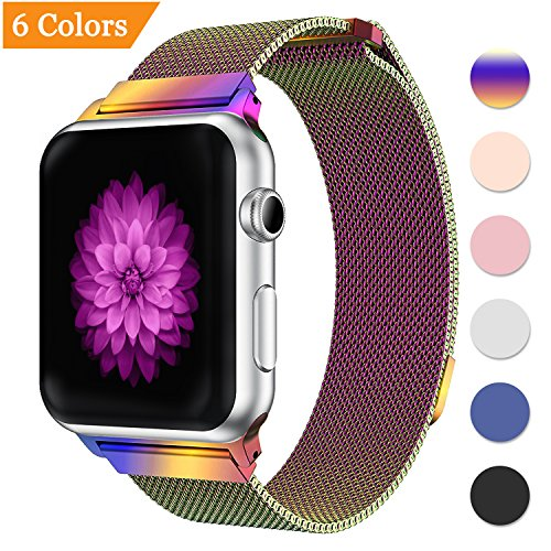 Gold Mesh Buckle (Bandx Milanese Loop Band for Apple Watch 38mm 42mm,Stainless Steel Mesh Band with Magnetic Closure for iWatch Series 3 Series 2 Series 1 (Colorful 38mm))