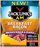 Jack Links A.M. Breakfast Bacon, Brown Sugar & Maple, 2.5 oz. Bag - Flavorful Ready to Eat Meat Snack with 11g of Protein, Made with 100% Real Bacon - No Added MSG or Nitrates/Nitrites