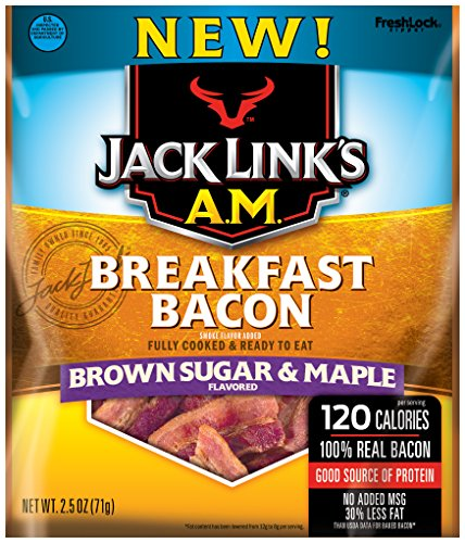 (Jack Links A.M. Breakfast Bacon, Brown Sugar & Maple, 2.5 oz. Bag - Flavorful Ready to Eat Meat Snack with 11g of Protein, Made with 100% Real Bacon - No Added MSG or Nitrates/Nitrites)