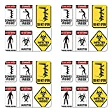 Ambesonne Zombie Coaster Set of Four, Warning Signs for Evil Creatures Paranormal Construction Design Do Not Open Artwork, Square Hardboard Gloss Coasters for Drinks, Multicolor