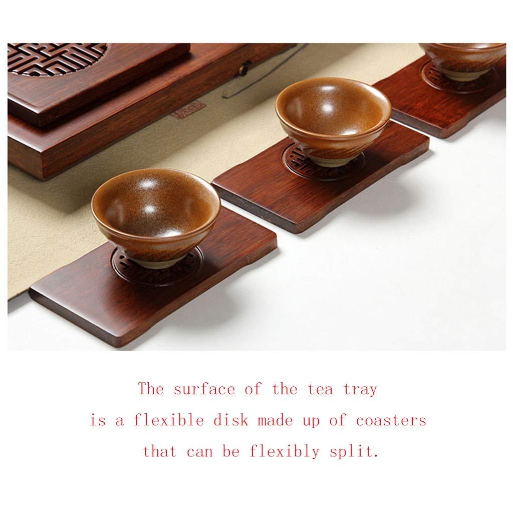 Tea Tray Tea Table Solid Wood Heavy Bamboo Tray Home Living Room Drainage Tea Table Whole Tea Set (Color : 45454.5CM) by GQQ (Image #6)