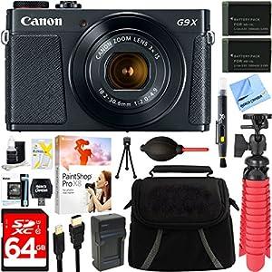 "Canon PowerShot G9 X Mark II 1"" 20.1MP 4x Zoom Black Digital Camera + Two-Pack NB-13L Spare Batteries + Accessory Bundle"