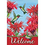 Magnolia Garden Welcome Tiny Wonders Hummingbirds and Bee Balm 44 x 30 Rectangular Screenprint Large House Flag For Sale