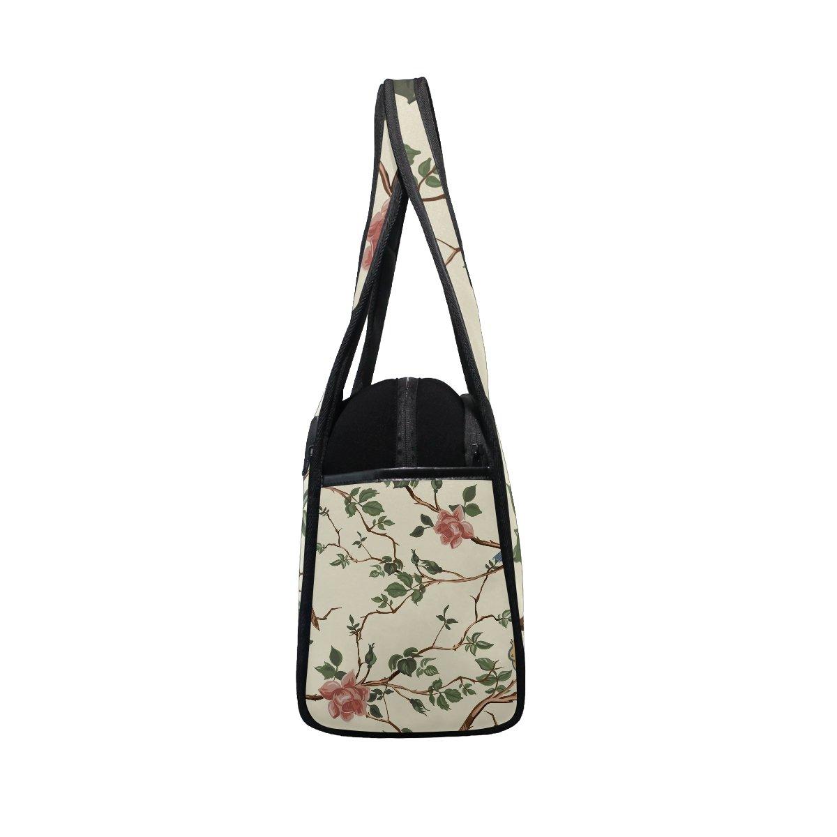 AHOMY Canvas Sports Gym Bag Tree Branches Flowers Bird Travel Shoulder Bag