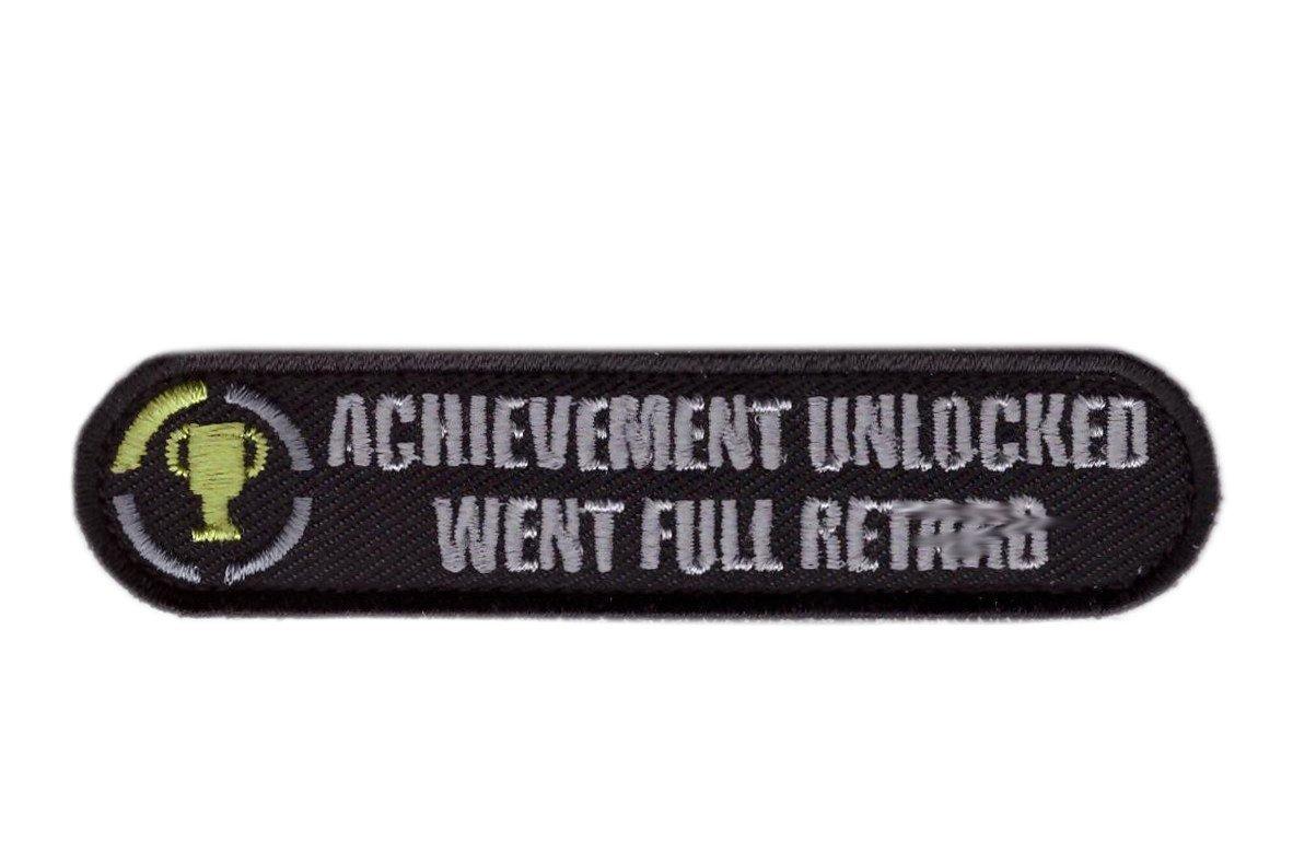 Tactical Achievement Unlocked Funny Patch Klettband Taktisch Aufn/äher Titan One Europe