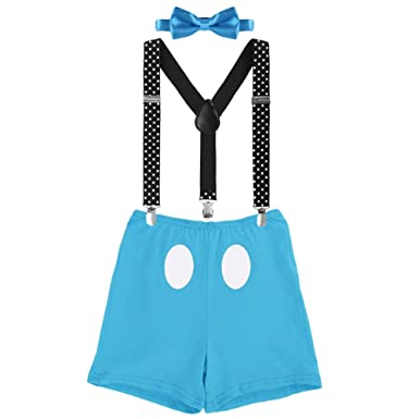 b290da35a Amazon.com: Cake Smash Mickey Outfit Baby Boy First Birthday Party Bottoms  Bowtie Y-Back Suspenders Photography Props 3pcs Clothes Set: Clothing