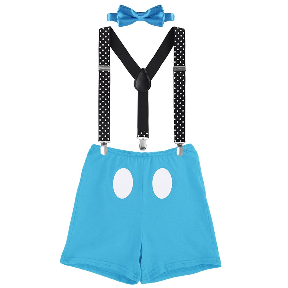 Baby Boys Adjustable Y Back Elastic Clip Suspenders Pre-tied Outfits 1st/2nd/3rd Birthday Cake Smash Bloomers Bowtie set