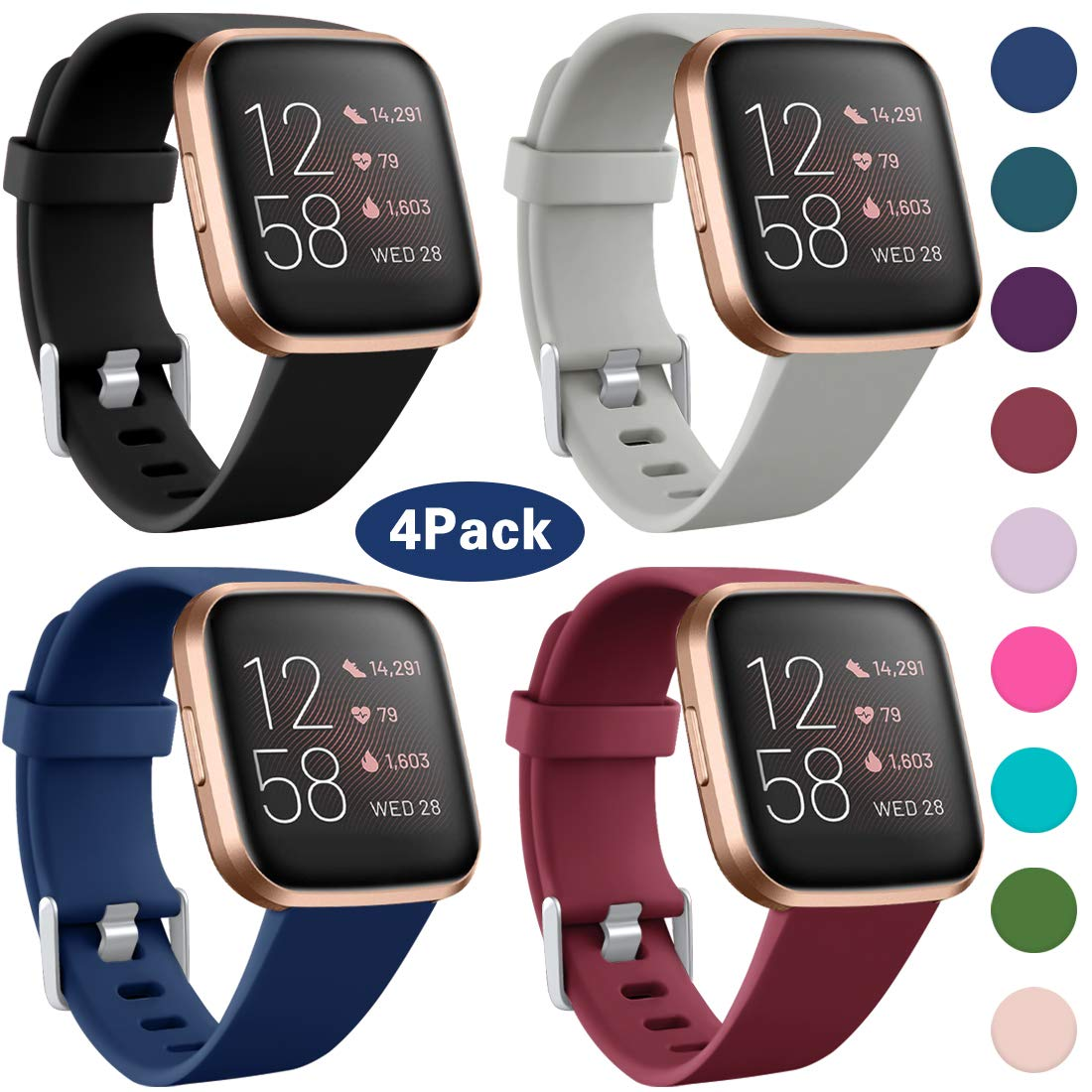 Maledan Compatible with Fitbit Versa 2 Bands for Women Men Soft Silicone Band Sport Replacement Strap for Fitbit Versa Watch/Versa 2/Versa Lite SE, Large, 4 Packs Black/Gray/Navy Blue/Wine Red