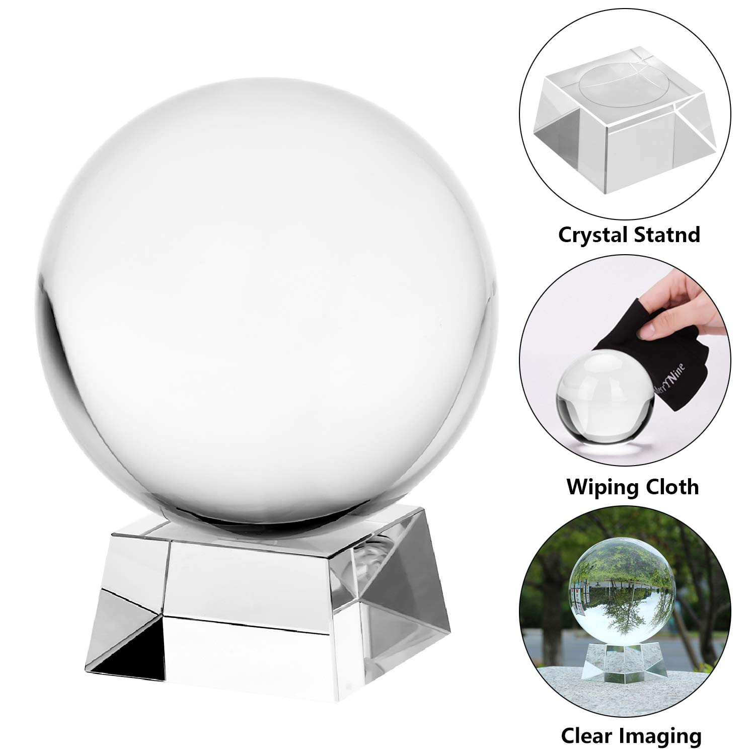 Decorative and Photography Accessory MerryNine Professional Crystal Ball Photograph K9 Crystal Suncatchers Ball with Trapezoid Crystal Stand 110mm//4.3, K9, with Crystal Stand