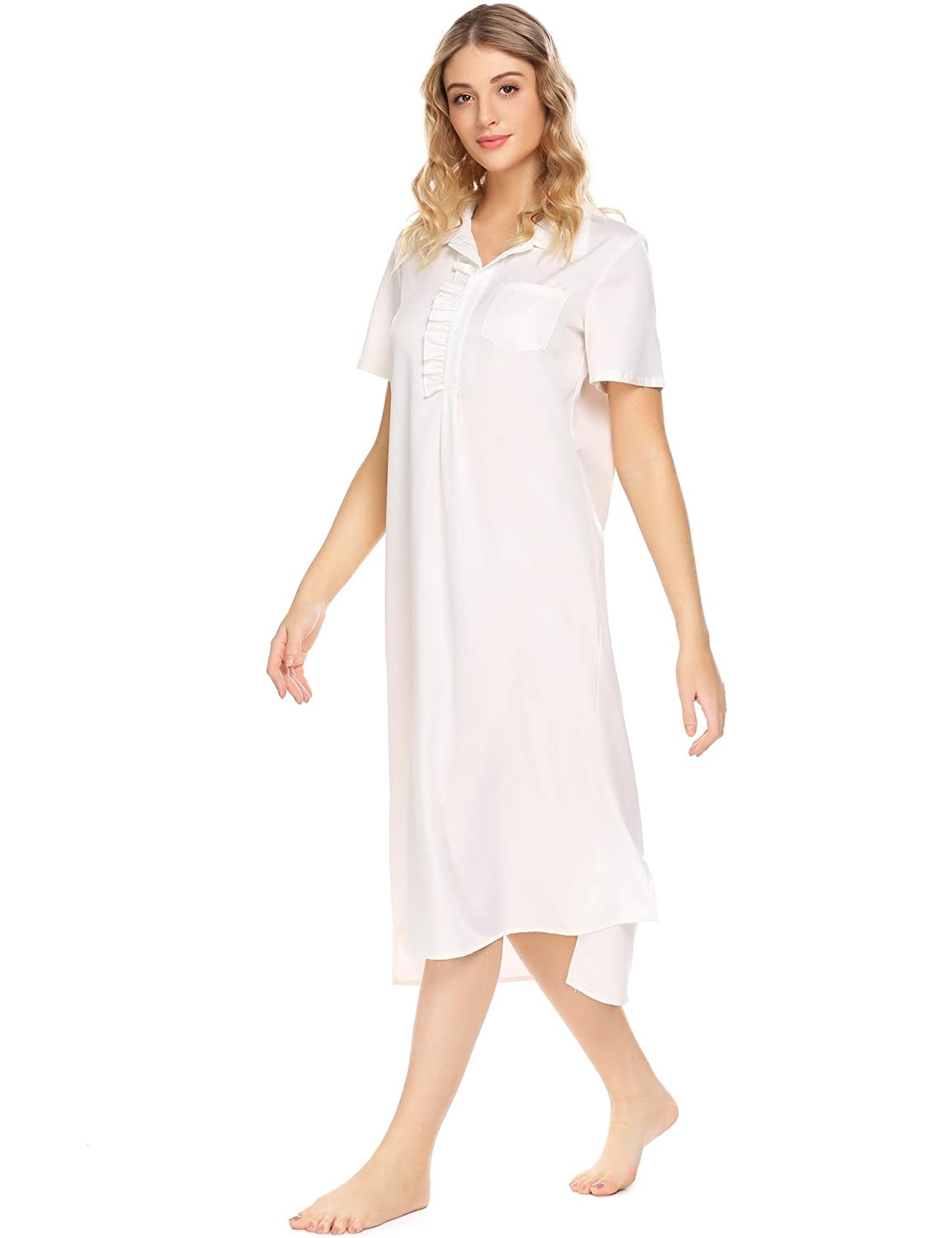 1b0c3e4c58 Ekouaer Women s Cotton Victorian Vintage Lace Long Nightgown Sleepwear