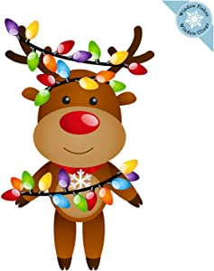 Christmas Window Clings - Christmas Reindeer with Lights Window Decorations - Reusable Non-Adhesive Holiday Window and Door Décor