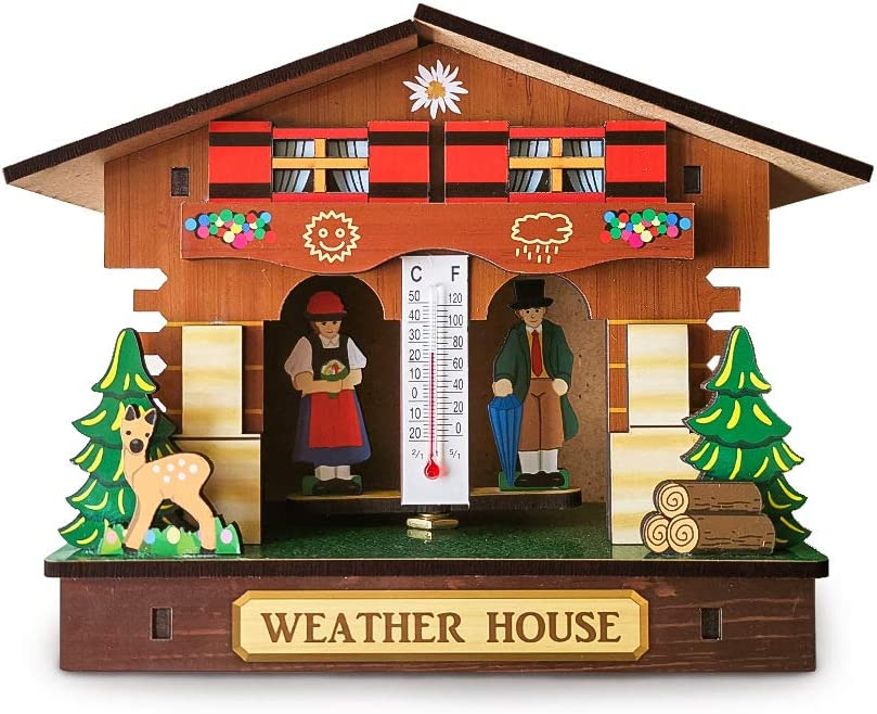 Weather House,Barometer Thermometer,weather Station,for Living Room Kitchen Office Restaurant Cafe Hotel D/écor