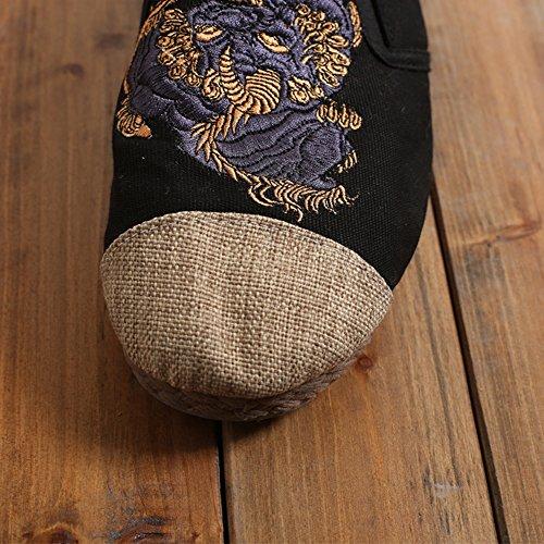hellomiko Hombres del del de negro Étnico Los Los Zapatos Zapatos bordaron Paño Los Kirin Estilo Viento awqarF