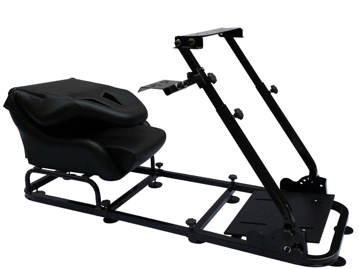 Asiento de simulaci/ón con estructura para ordenador y consola tapizado en cuero sint/ético color negro