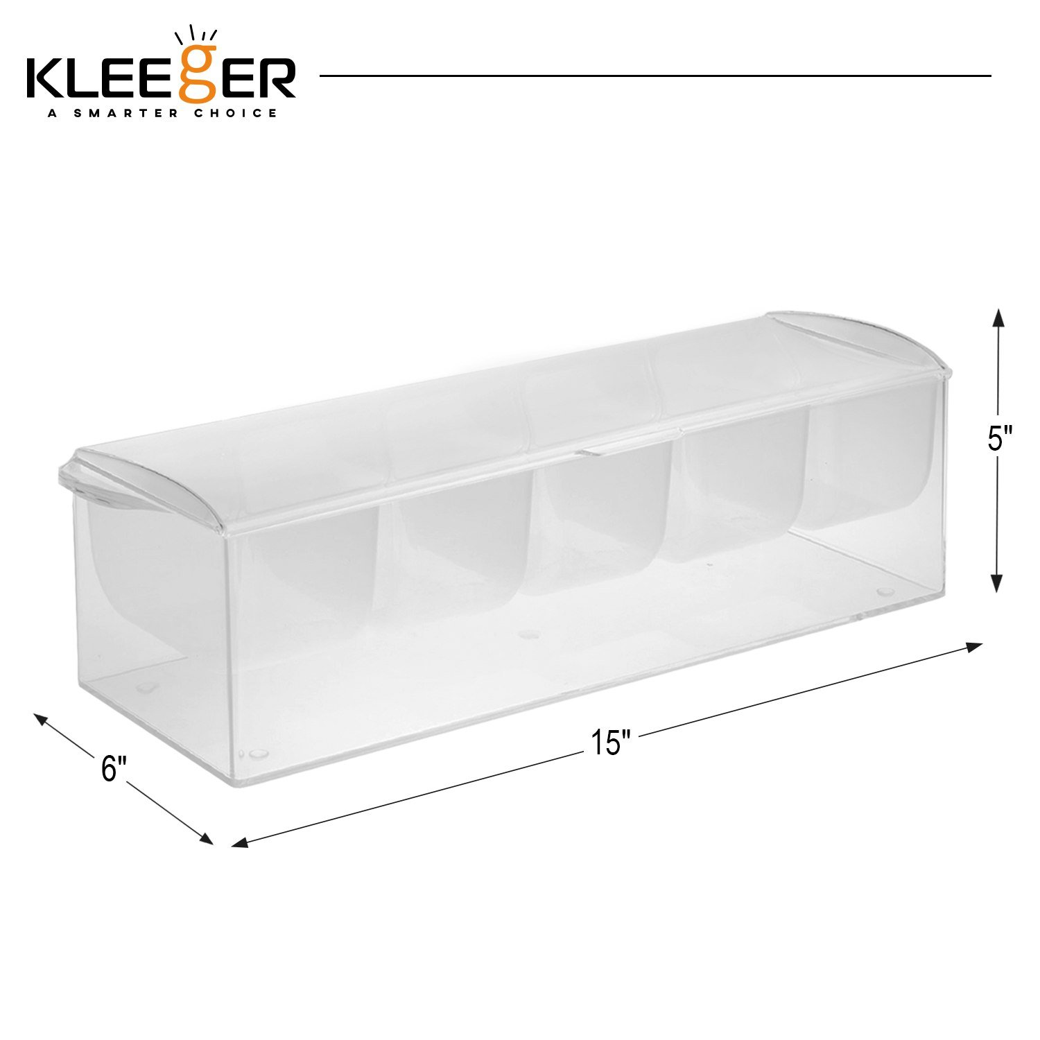 Kleeger Chilled Condiment Server With Lid: 5 Removable Compartments, Bottom Fills With Ice by KLEEGER (Image #4)