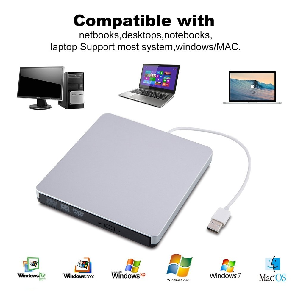 SZYIKUER USB 3.0 Portable External DVD/CD-RW Drive with Built-in USB Cable - Silver