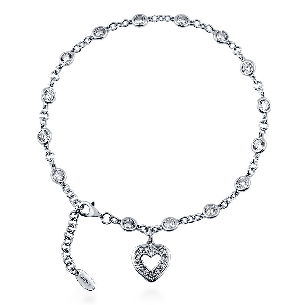 BERRICLE Rhodium Plated Sterling Silver Cubic Zirconia CZ by the Yard Open Heart Charm Anklet 9''+1'' Extender