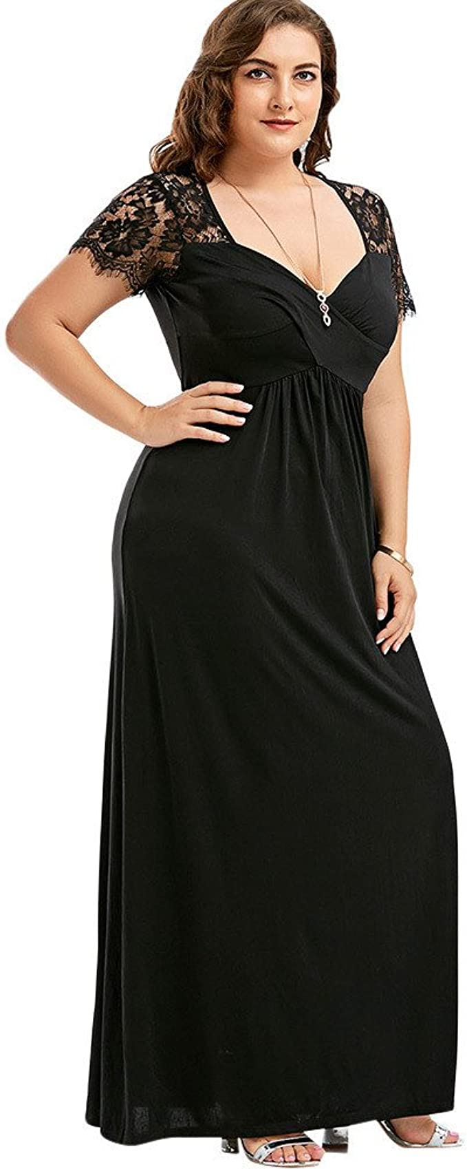 Zegeey Damen Abendkleid GroßE GrößEn Cocktailkleider V-Ausschnitt Kurzarm  Mit Spitze Ballkleid HochzeitsgäSte Brautjungfern Kleid