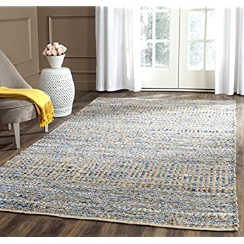 Safavieh Cape Cod Collection CAP353A Hand Woven Flatweave Natural and Blue Jute Area Rug (4' x 6')