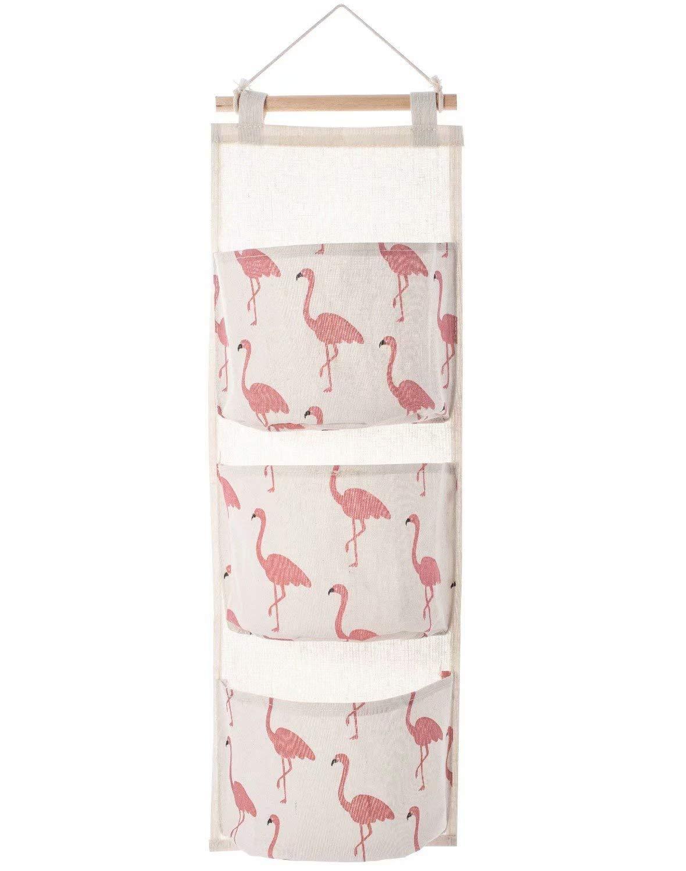 Aikesi Bolsa de almacenamiento colgante Organizador  Cartoon Flamingo patr/ón lino y algod/ón colgar armario bolsa de almacenamiento con 3 bolsillos