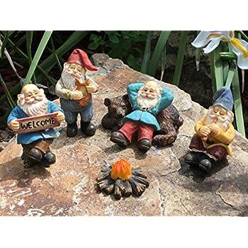 GlitZGlam Happy Gnomes Camp   6 Piece Garden Gnome Set For The Miniature  Fairy Garden By