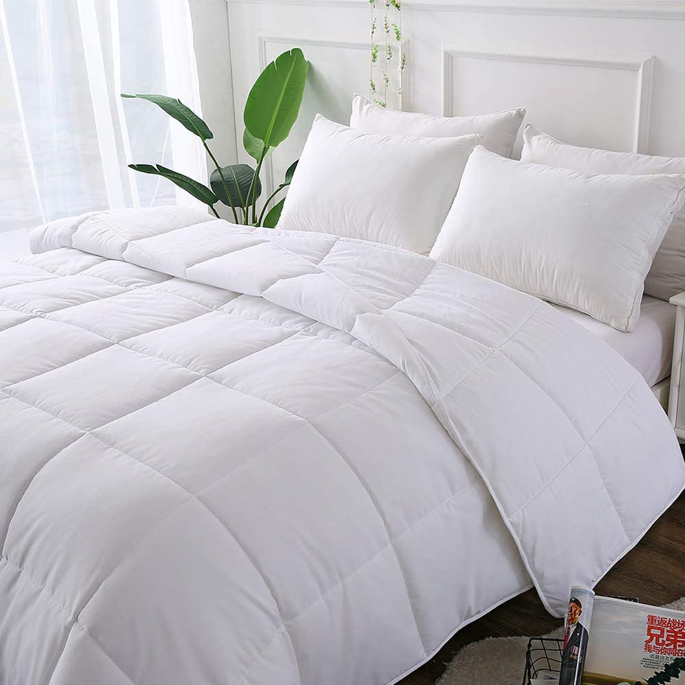 Decroom White Comforter Queen Full Size, Down Alternative Quilted Duvet Insert Queen,Moisture-Wicking Treament,Light Weight Soft for All Season Comforter Queen