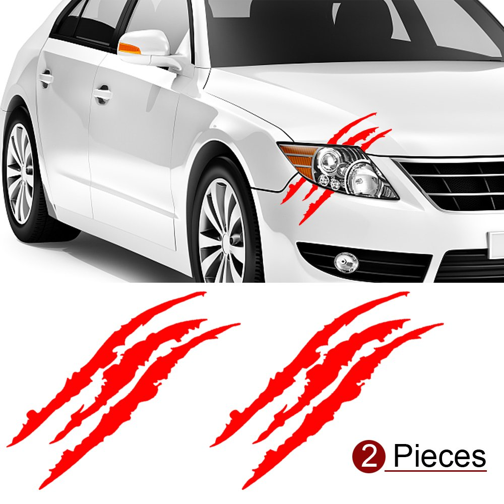 red YGMONER 2PCS Claw Marks Decal Reflective Sticker 16 x 5