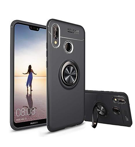 Funda para Huawei P20 Lite, Diseño Delgado [Silicona Suave] [Soporte de Caballete 360 °] Hardware Avanzado Anillo (P20 Lite, Negro)