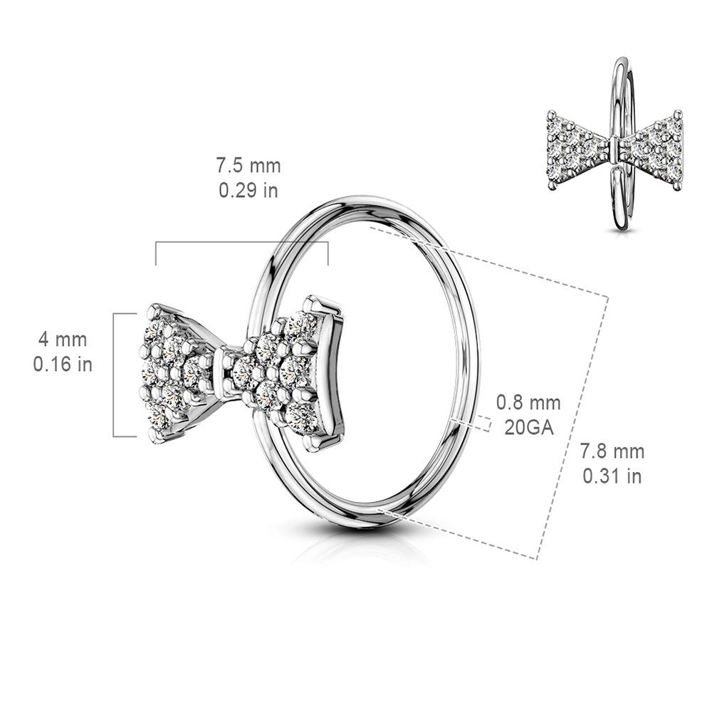 Dynamique CZ Paved Bow Tie Bendable Nose Cartilage Hoop Rings Sold Per Piece