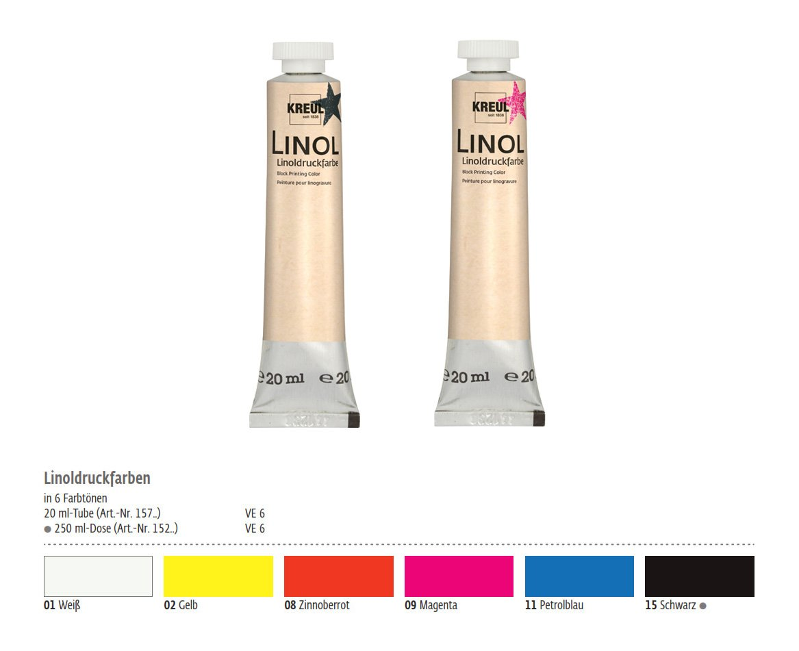 Linoleum Print Paint Colour for Lino Printing, Linoleum Cutter (Set of 6 Colours C. Kreul GmbH