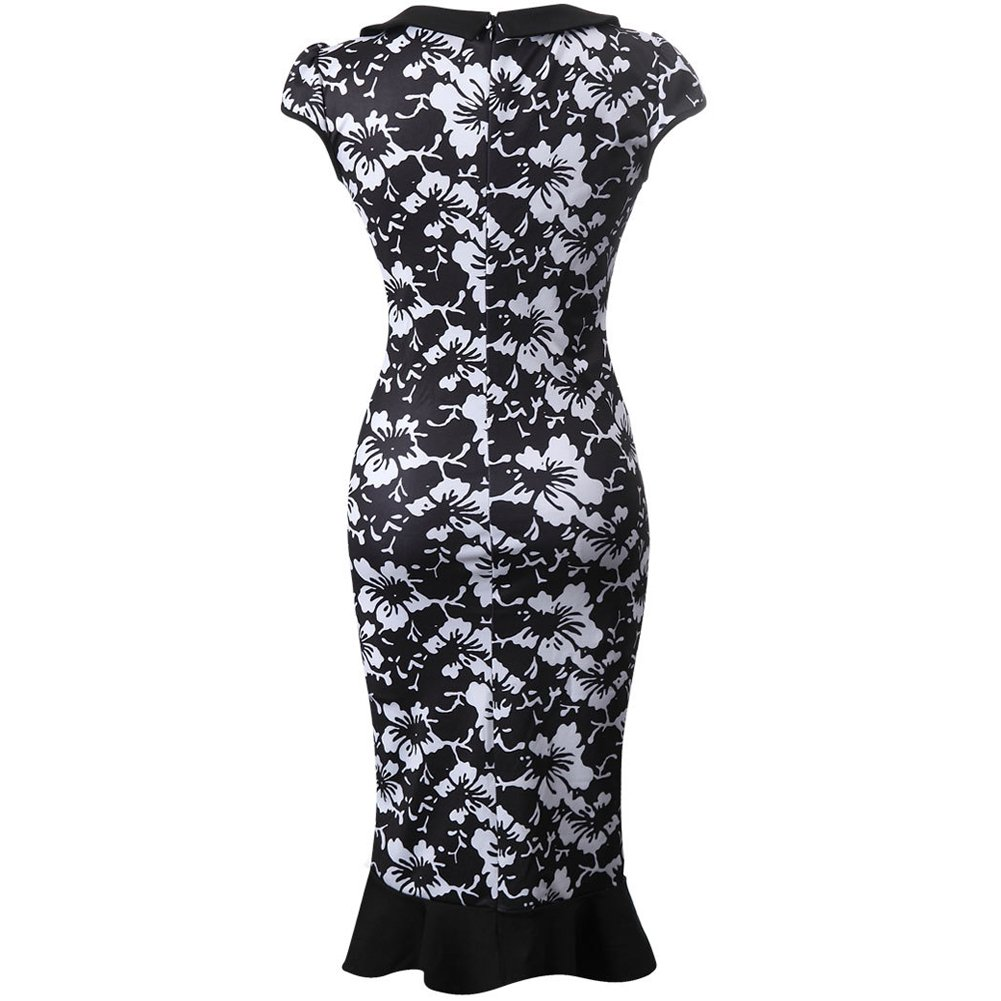 Amazon.com: bankhunyabangyai store Black White Vintage Elegant Formal Work Pencil Wiggle Dress Bky8-001.2: Clothing