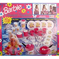 BARBIE Playmates portátiles Juego de 47 paños Playset w CARRY CASE, COOKWARE, TEA Set, UTENSILIOS Y MÁS (1991 Chilton /Mattel)
