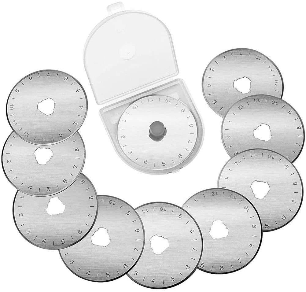 Cuchillas de corte giratorio 45 mm paquete de 10 Costuras de acero Cortador giratorio Telas de corte circular Cuchillas de repuesto Cortadores de repuesto Costura Acolchado Herramientas de