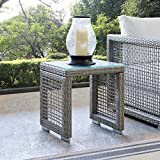 Modway EEI-2922-GRY Aura Outdoor Patio Wicker Rattan, Side Table, Glass For Sale