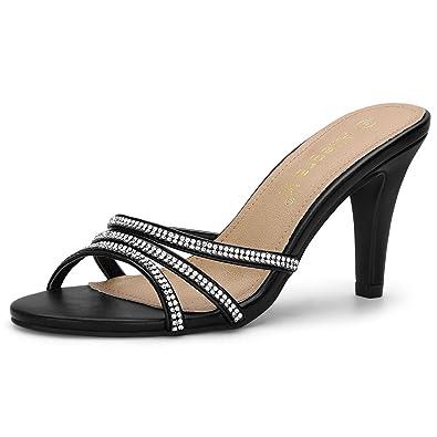 12a736babb Amazon.com | Allegra K Women's Rhinestone Strappy Heel Mules | Shoes