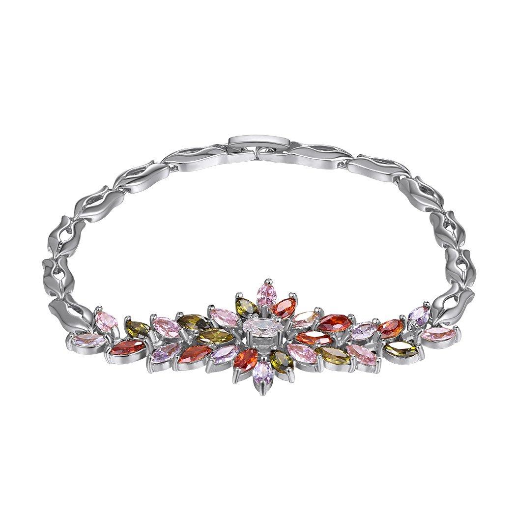 Luxury Gold Plated Bracelet Flower Pattern & AAA Cubic Zirconia Tennis Bracelet for Women Suplight Jewelry LH8004K-49