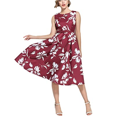 4URNEED Vintage Geblümt Damen Aermellos Rundhals Sommerkleid Partykleid Cocktailkleid Skaterkleid Knielang Rot