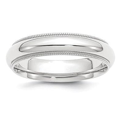 Amazoncom Platinum 5mm ComfortFit Milgrain Wedding Band Ring