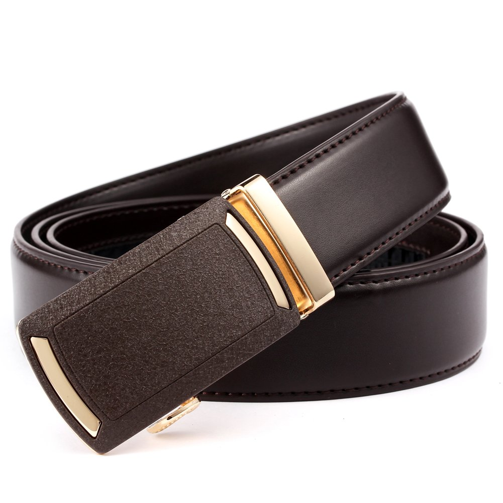 Mens Ratchet Dress Belt- Genuine Leather Adjustable Belt 1 3/8'' Wide with Automatic Sliding Buckle