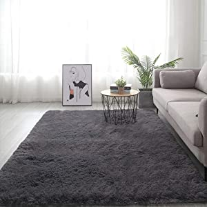Grey Fluffy Area Rugs for Bedroom Dining Room,4' x 5.3' Anti-Skid Shaggy Soft Floor Carpet Cute Mat for Kids Room,Modern Indoor Living Room Baby Nursery Home Decor