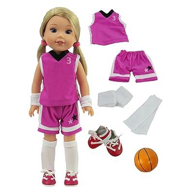 American Fashion World Purple Basketball Uniform fits 14 Inch Doll: Toys & Games