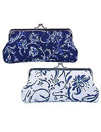Oyachic 2 Packs Coin Purse Cell Phone Pouch Canvas Folk-Custom Clasp Closure Wallet Gift (Dark Blue and White)