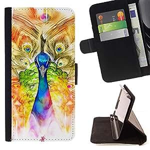 For Sony Xperia Z3 D6603 Case , Peacock Arte de la acuarela Pintura Dibujo- la tarjeta de Crédito Slots PU Funda de cuero Monedero caso cubierta de piel