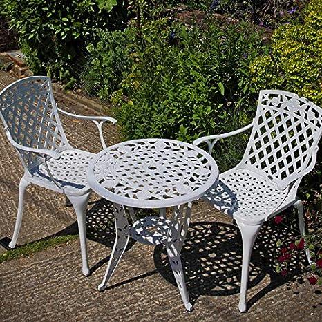 Lazy Susan Rose Mesita de Jardín y 2 Sillas Rose en Blanco ...