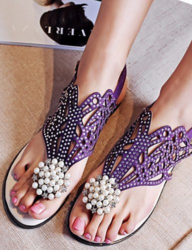 ShangYi Womens Shoes Fleece Flat Heel Comfort Sandals Dress / Casual Black / Purple Black